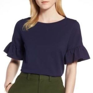 1901 Navy Blue Ruffle Short Sleeve Cotton Top